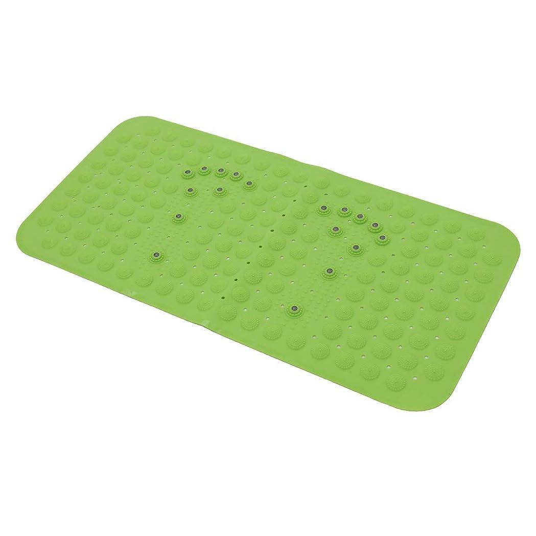 Perfeclan ノンスリップ バスタブマット マッサージシャワー指圧マット 長方形 使用便利 全3色 滑り止め - 緑