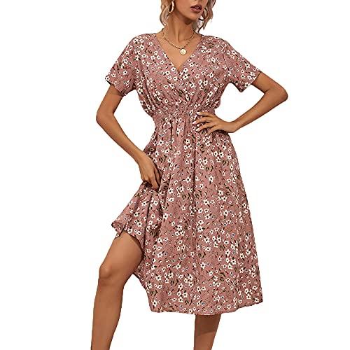 Vestido de mujer de manga corta con estampado de flores, cuello en V, vestido informal, Rosa., XL