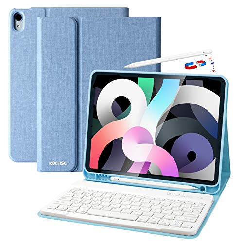 Funda Teclado iPad 10.9, Funda iPad 2020 con Ranura para Lápiz y Español (Incluye Letra Ñ) Teclado Bluetooth Inalámbrico Desmontable para iPad Air 10.9/iPad Pro 11 2018
