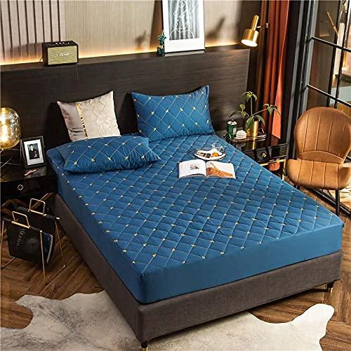 GaoTianyou 2021 Sábana Ajustable Funda Protectora de colchón Color sólido Algodón de Fibra Larga Acolchado Impermeable Funda de Cama Queen King-Blue_Pillowcase: _48cm * 74cm * 2