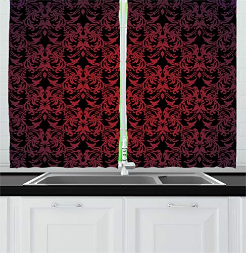 """Ambesonne Victorian Kitchen Curtains, Antique EuropeDesign Floral Swirls and Leaves Ombre Image, Window Drapes 2 Panel Set for Kitchen Cafe Decor, 55"""" X 39"""", Burgundy Vermilion"""