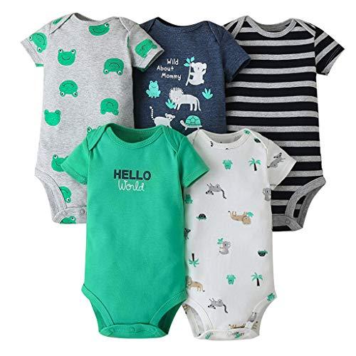 Body Bebés Niños Paquete de 5 Mangas Cortas Mono Mameluco Infantil Pijama Algodón de Verano Mono para Niñas Camisetas 18-24 Meses