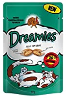 Dreamies Cat Treats With Turkey 60g ( x 8 packs ) Makes a loverly gift idea Dreamies cat treats are crunchy squares filled with delicous soft centres Good quality item which cats find irresistable . Distinctive packaging creates stand out on shelf