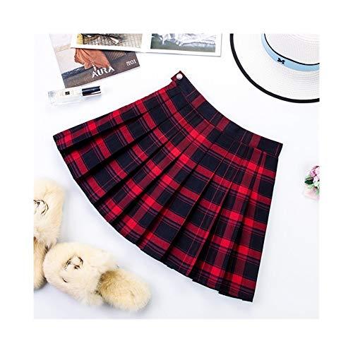 Falda plisada de verano para mujer, falda de cintura alta, color negro, falda con texto en ingls 'Big Yards', color blanco y negro a cuadros, tamao: M)