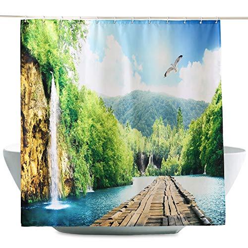 ENCOFT Cortinas de Ducha Antimoho Cortinas de Baño en Poliéster Impermeable Cortinas de Bañera con 12 Ganchos de Plástico, Montaña Lago y Puente Verde 180x200cm