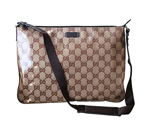 Gucci Unisex Brown XL Crystal GG Fabric Laptop Sling Messenger Bag 278301 9643
