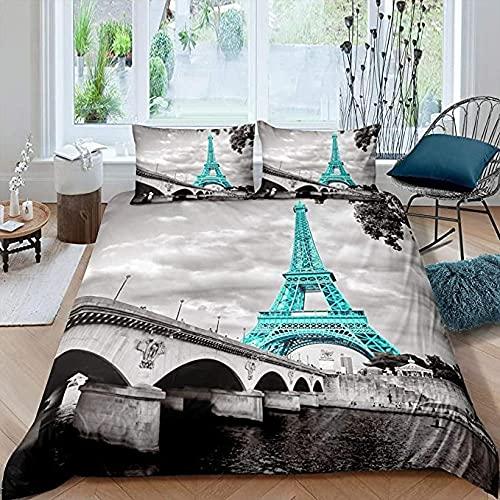 HSBZLH Funda De Edredón Motos Juego Funda Nórdica 3 Piezas Torre Eiffel Niñas Chic Teal Paris Microfiber Ropa Cama Moderna Paris Cityscape Funda Edredón Impresa Decoración Dormitorio