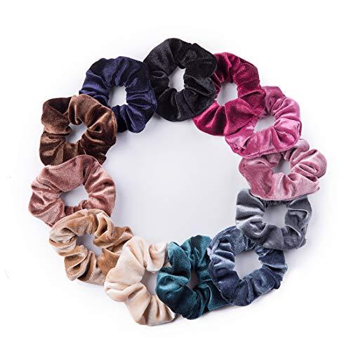 12 Pack Velvet Hair Scrunchies Scrunchy Hair Ties Elastic Hair Bands Ropes Scrunchie for Women or Girls Hair Accessories(12 Colors)