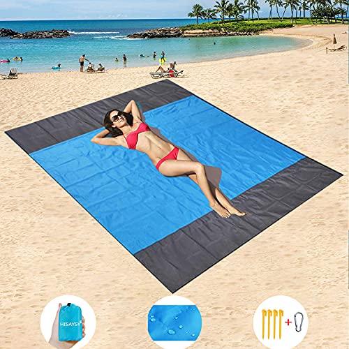 HISAYSY Picknickdecke 200x200 cm, Stranddecke Sandfrei Wasserdicht mit 4 Befestigung Ecken, Ultraleicht Kompakt Campingdecke, Sandabweisende Matte für den Strand, Campen, AusflüGe(Blau)