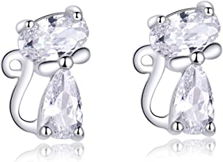 WOSTU Cute Cat Ear Stud Earrings for Women 925 Sterling Silver Cubic Zirconia Post Earrings for Sensitive Ears.