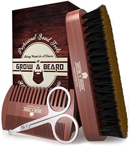 Beard Brush Comb Set w Beard Scissors Grooming Kit Beard Brush For Men Natural Boar Bristle product image