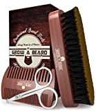 Beard Brush, Comb, & Scissors Beard Growth Kit For Men, Gifts For Dad, Gifts for Him, Gift for Dad From Daughter, Men Gift Sets for Men, Husband Him Dad Boyfriend, for Beard Grooming, Cool Brown