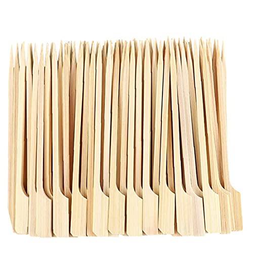 Nicedier Pinchos de Madera Palitos de Barbacoa Bambú Kebabs Práctico Paddle Palillos Largos para BBQ Fruit Snacks 18cm 100pcs Accesorios para Barbacoa