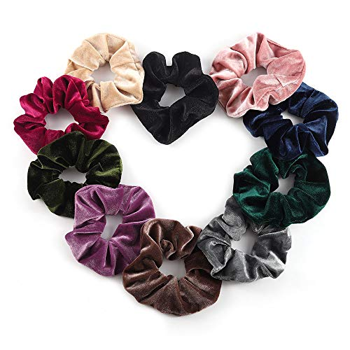 Luxspire Hair Scrunchies, 10PCS Velvet Hair Bands, Elastic Rubber Band, Soft Hair Ties Ropes Ponytail holder Hair Accessories for Women and Girls - Mehrfarbig