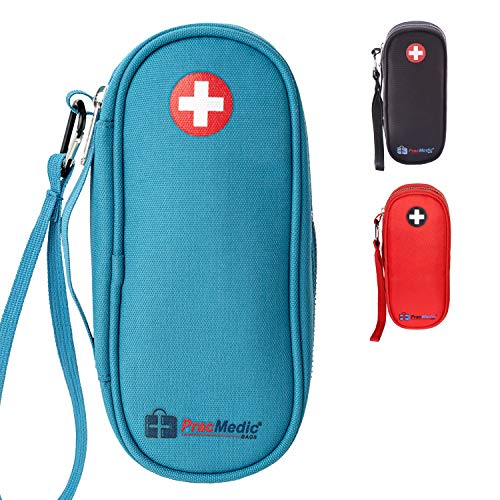 PracMedic Bags Epipen Carrying Case- Holds Epi Pens, Auvi Q, Epinephrine, Inhaler, Medicine Syringe, Diabetic Supplies, Portable and Insulated, Travel Medicine Bag for Emergencies, Updated (Teal)