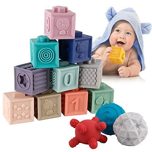 BOBXIN 15 PCS Baby Blocks Toys Soft Stacking Blocks Baby Montessori Sensory Ball Teether Infant Bath Toys Squeeze Play with Numbers Shapes Animals Fruit and Textures Toy for Babies Toddlers 6 Months