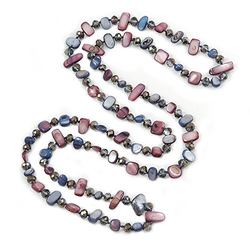 Avalaya Long Inky Blue, Plum Shell Nugget and Glass Crystal Bead Necklace - 110cm L