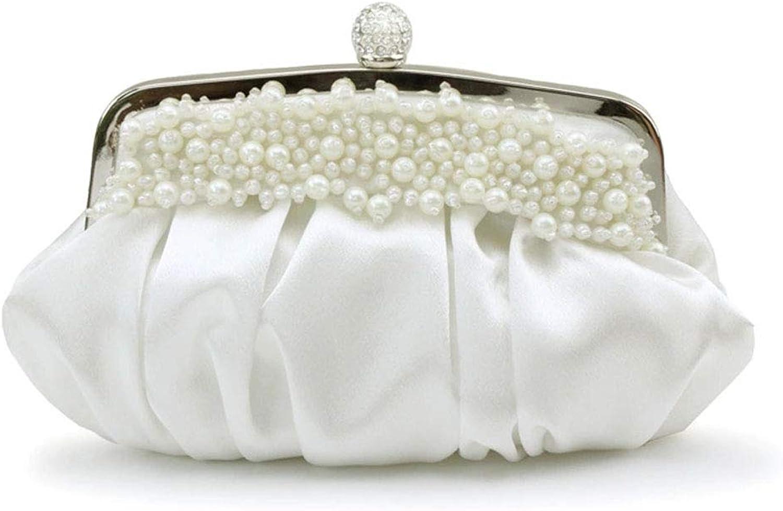 Wanforjewellery Diamantbesetzte Damen Abendtasche, Klassische Satin-Clutch-Perlenhandtasche,Weiß B07KYFXH2S  König der der der Menge 97bb9e
