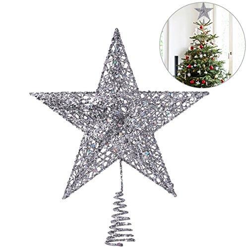 NICEXMAS - Decoración para árbol de Navidad con Estrella Plateada Brillante de 20 cm, decoración de árbol de...