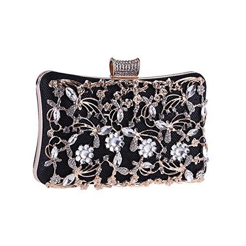 Zhicaikeji Bolso de Noche Bolso de Noche de Cristal Noble de Las Mujeres Noble Bolso de Embrague de la Boda Bolsa de cosméticos para la Fiesta (Color : Black)