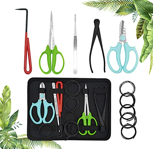 Bonsai Tools Set 11pcs Gardening Trimming Tools Set Bonsai Tree Tools Kit with Pruning Shears, Root Pick, Tweezers, Bonsai Wires, Wire Cutter and Scissors, Leather Bag for Garden Plant(11 PCS)