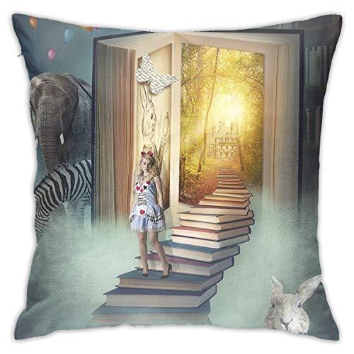 pingshang Fundas de almohada, diseño de libro mágico de algodón y poliéster, fundas cuadradas para sofá, decoración del hogar, 45,72 x 45,72 cm
