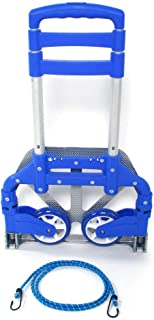PrimeTrendz Aluminium Portable Folding Collapsible Push Truck Hand Trolley Luggage Hand Cart and Dolly 176Lbs/ 80Kg Ideal for Home, Auto, Office,Travel Use (Blue)