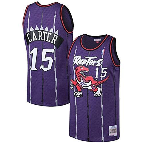 Basketball Jersey Raptors #15 Carter Camiseta Jugador Baloncesto para Hombres, Camiseta fanáticos, Chaleco Transpirable Deportivas de Jersey Swingman,Púrpura,L