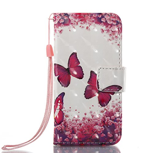 Urberry iPhone SE/5s/5 Wallet Case, 3D Wallet Stand Feature Flip Book Case for iPhone 5s/5/SE with a Free Screen Protector (Hot pink)