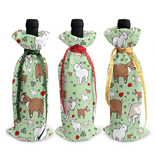 3pcs Wine Bottle Cover Cover Bags,Goats Christmas Tote Bag for Wedding, Party Favors, Christmas, Holiday and Wine Party Supplies
