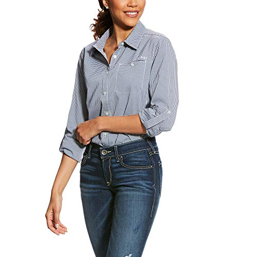 ARIAT Women's Venttek Ii Stretch Shirt Indigo Fade Check Size Small