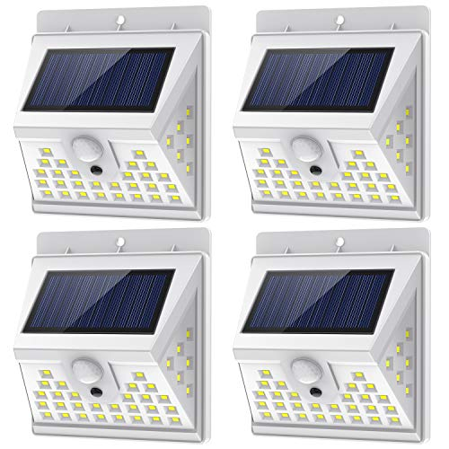Solar Lights Outdoor Motion Sensor with 3 Lighting Modes, 270° Wide Angle Lighting, IP65 Waterproof. Bright Wireless Security Light for Deck Garage Yard Porch Fence(40 LED, 5500K, 4 Pack, White)