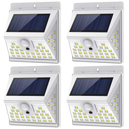 Nacinic Solar Leuchten mit Bewegungsmelder Aussen Wandleuchte,40 LED 1000 Lumen 270° 3 Modi Solarlampen Wetterfest Lampen für Garten Weiß 4 Stück