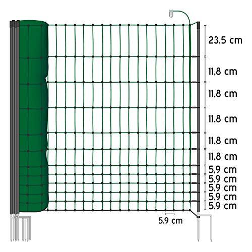 50 m Hühnerzaun, Geflügelzaun, Geflügelnetz, Kleintiernetz, 112 cm, 20 Pfähle, 2 Spitzen, grün von VOSS.farming farmNET - 2