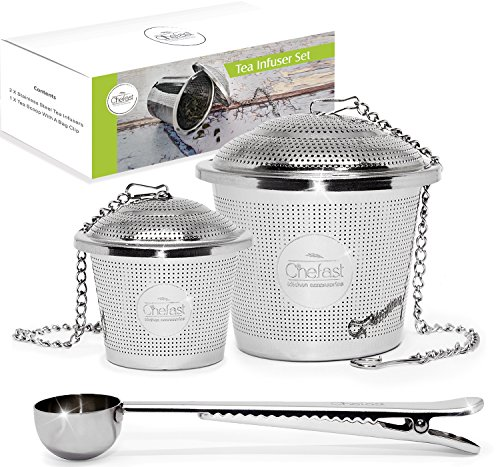 Tea Infuser Set by Chefast (1+1 Pack) - Combo Kit of Single Cup and Large...