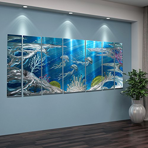 Jon Allen Metal Art Huge Underwater Wall Art Painting, Nautical, Beach Decor, Deep Blue Sea, 96″ x 36″