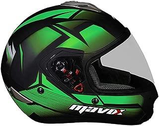 MAVOX FX21 D3P 580 Full Face Helmet (Black and Green, 580 mm)