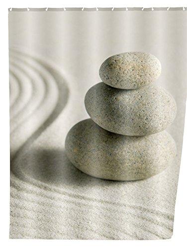 WENKO 20968100 Duschvorhang Sand und Stone - waschbar, mit 12 Duschvorhangringen, Kunststoff - Polyester, Mehrfarbig