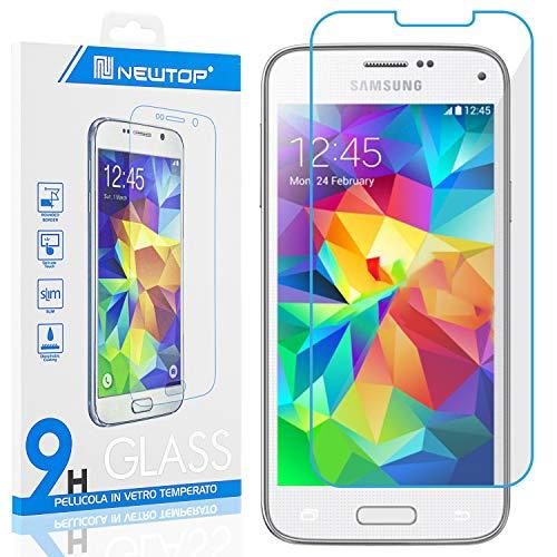 N NEWTOP [1 PEZZO] Pellicola GLASS FILM Compatibile con Samsung Galaxy S5 Mini, Fina 0.3mm Durezza 9H Vetro Temperato Proteggi Schermo Display Protettiva Anti Urto Graffio Protezione