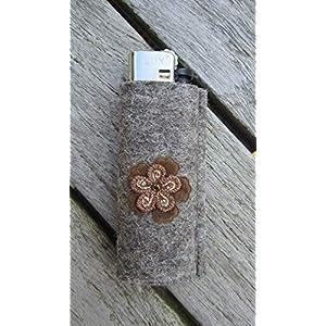 zigbaxx Feuerzeug-Hülle FLOWER, Feuerzeughülle aus Woll-Filz mit Blume – für BIC Feuerzeuge und div. Einwegfeuerzeuge…