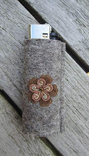 zigbaxx Feuerzeug-Hülle FLOWER, Feuerzeughülle aus Woll-Filz mit Blume - für BIC Feuerzeuge und div. Einwegfeuerzeuge - Geschenk Geburtstag Weihnachten