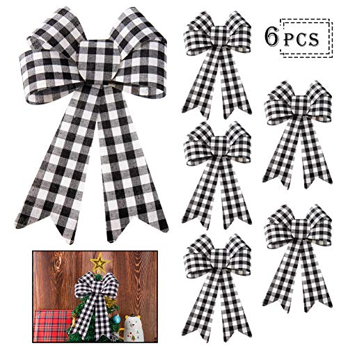 MEWTOGO 6 Pieces Large Buffalo Plaid Christmas Bow- 11.8 × 9.1 inches Black& White Checker Plaid Christmas Wreaths Bow Ribbon Bow for Christmas Holiday Tree Topper Front Door Wreath Decor