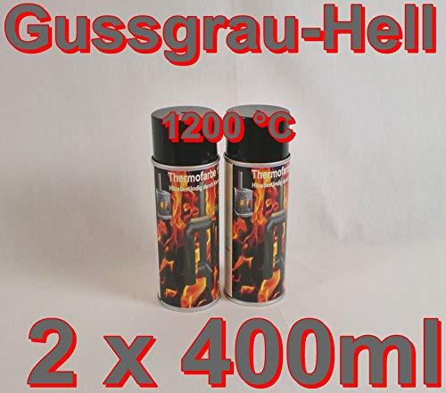 2 Stück Ofenlack 1200°C Ofenspray Ofenfarbe Thermolack 2x Gussgrau Hell 400ml