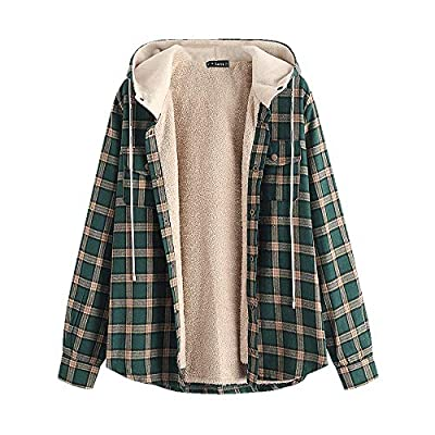 ZAFUL Men's Casual Plaid Fleece Hooded Jacket Unisex Flannel Lined Long Sleeve Drawstring Fuzzy Hoodie Shirt Coat from