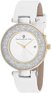 Christian Van Sant Women's Dazzle Stainless Steel Quartz Leather Strap, White, 16 Casual Watch (Model: CV1223)