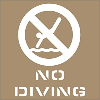No Diving Plastic Stencil with 8-inch Letters for Recreation and No Swimming/Diving, Made in USA by ComplianceSigns