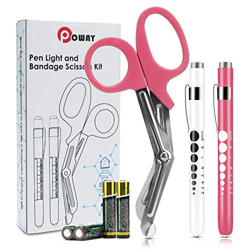 "Opoway Nurse Penlight with Pupil Gauge LED Penlight Medical for Doctor Nurse Diagnostic with Free Batteries and 7 ½"" Pink Bandage Scissors"
