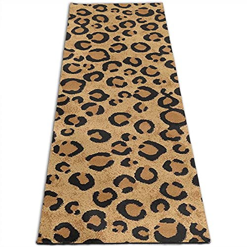Alfombra de yoga con estampado de animales de leopardo salvaje de 5 mm de grosor, antideslizante, para todo tipo de yoga, pilates y ejercicios de suelo (180 cm x 61 cm x 0,5 cm)