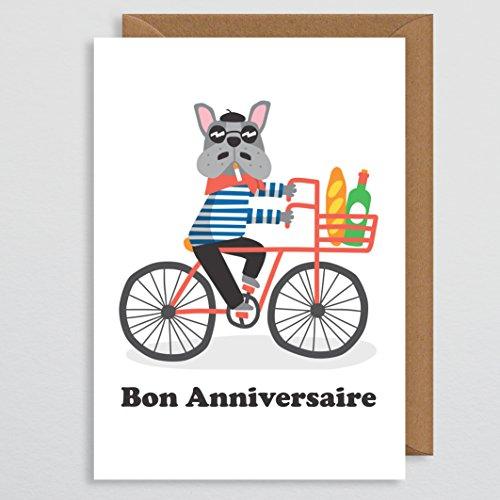 Lustige Geburtstagskarte mit Hundeabbildung, französische Bulldogge, Geburtstagskarte von einem Hund für Ihren Freund, Ihre Freundin, für Sie, für Ihn, lustig und niedlich