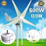 YUYUKUAILAI Windgenerator, DC 12 V / 24 V, 600 W maximaler Windgenerator, 5-Blade Heimwindgenerator, 12 V / 24 V, 600 W Dauermagnetgenerator, 24 V,12V